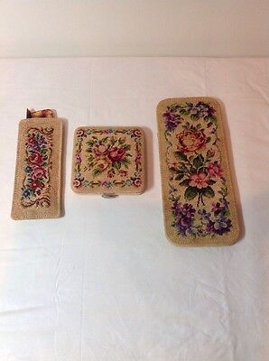 Antique Victorian Floral Petit Point Needlepoint Embroidered (3 Piece Set)