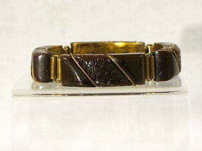 Art Deco BAKELITE COCOA LINK BRACELET - BRASS INLAY ACCENTS - SIMICHROME TESTED