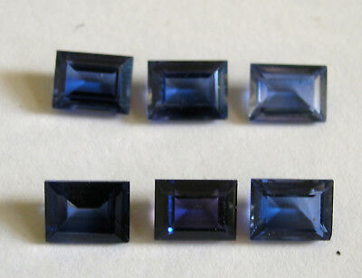 6 Large synthetic Lab Created Sapphires- Loose gemstones