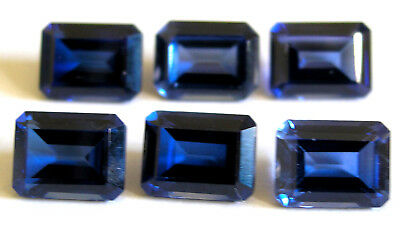 6 Rectangular synthetic Lab Created Sapphires- Loose gemstones