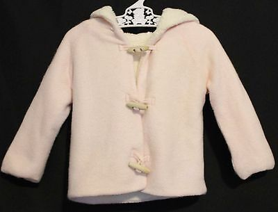COUNTRY ROAD ~ Baby Girls Pale Pink Cotton Fleece Lined Hooded Duffle Coat 6-12m