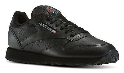 23fbcd95afc REEBOK CLASSIC LEATHER Black Mens Running Tennis Shoes Item 116 ...