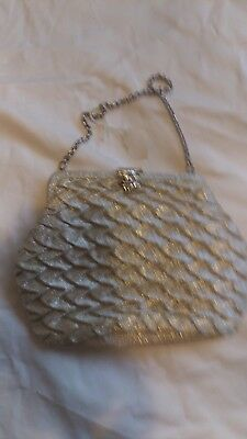 Vintage Clutch Bag Made in England Silver