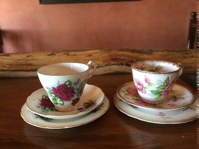 English Bone China Vintage Trio Collection x 2