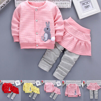 2Pcs Infant Toddler Baby Girls Rabbit Print Tops Coat+Pants Outfits Clothes Set