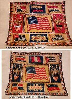 2 Antique 1910-1915 Tobacco Felt Flag AMERICA & South America Caribbean flags lg