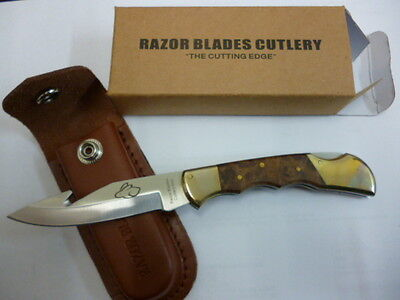 Razor Blades The Red Rabbit Guthook Pocket Hunting Camping Skinning Knife 2Nds