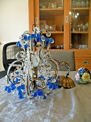 Vintage Opaline Murano Magnificent chandelier with crystal pendants blue