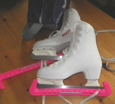 Roces Ladies White  Ice Figure Skates Sz 38 / 5 With Blade Covers, Bag