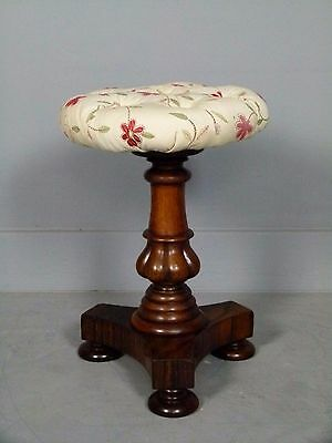 Pretty Regency Rosewood Adjustable Piano / Dressing Table Stool