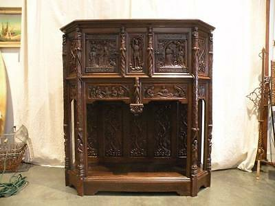 Antique Highly Carved French Gothic Cabinet Circa 1890