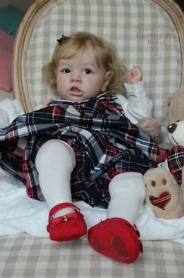 Reborn Doll Kit Saskia by Bonnie Brown with doe suede body & COA.
