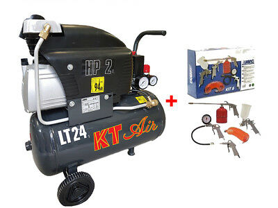 COMPRESSORE ARIA 24LT KTAIR 2HP 8BAR 1500WATT LUBRIFICATO OLIO + kit fiac abac