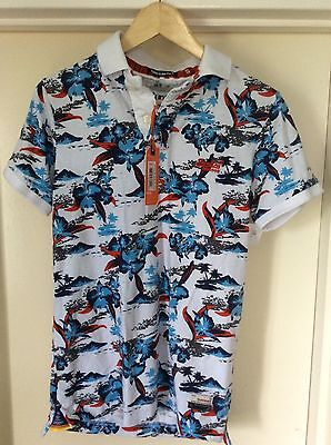 Superdry Mens Short Sleeve Aloha Hawaiian Polo Shirt  S Fishing  NEW  Xmas Golf