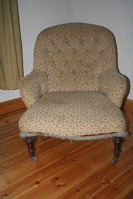 Antique Victorian  Low  Button-Back Chair