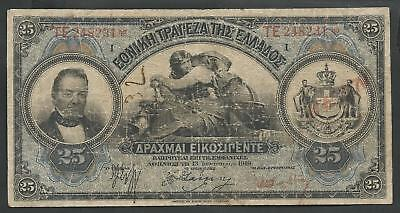"National Bank of Greece Drachmae 25/13.1.1919 ""NEON"" ! Rare date!"