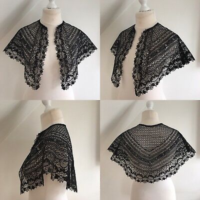 Antique Black Cape Silk Maltese Lace Capelet Vtg 1800s Victorian Mourning Gothic