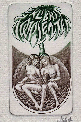 V. JAKSTAS Akten Exlibris Lenten Erotic Nude Couple Signed Copper Engraving c2