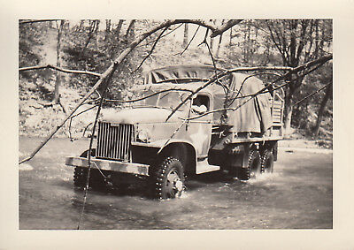 Original WWII Photo US Army 2-1/2 TON TRUCK Bumber Markings Obscured A2