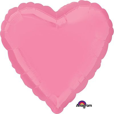 Anagram Bright Bubble Gum Pink Heart Standard Foil Balloons lot of five