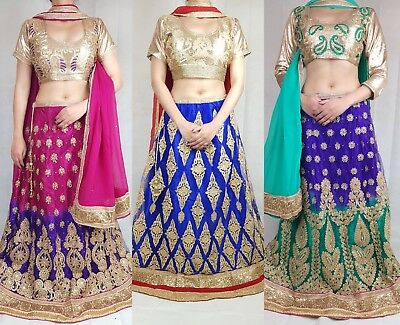 Lengha Choli Indian Bollywood Designer Fully Stitched Lehenga Wedding Party Wear
