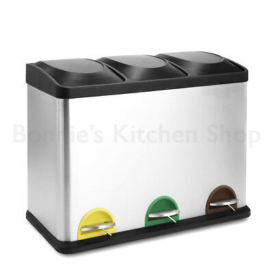 45L Pedal Compartment S/Steel Kitchen Waste Garbage Rubbish Recycling Pedal Bin