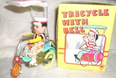 Vintage Wind Up  Tricyle With Key & Bell