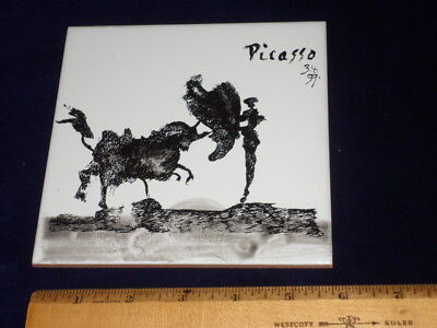 Authentic Picasso Art Tile - Vintage Spanish Tile - Bull Fight - 1959