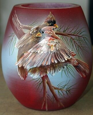 Fenton Art Glass OOAK Handpainted Cased Vase with Cardinals