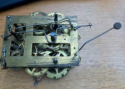Vintage Brass Clock Movement For Spares or Repair