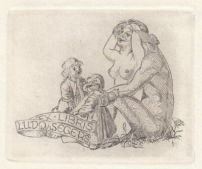 Hans HAUKE Weibl. Akt exlibris Segers Nude Woman Couple Children Etching C3