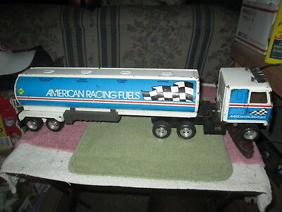 VINTAGE ERTL   RACING FUEL SEMI DELIVERY TRUCK,   look at graphics.