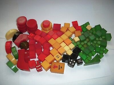 Catalin/bakelite Lot Of Multi-Coloured Unstamped Dice+ Approx. 487 Grams,