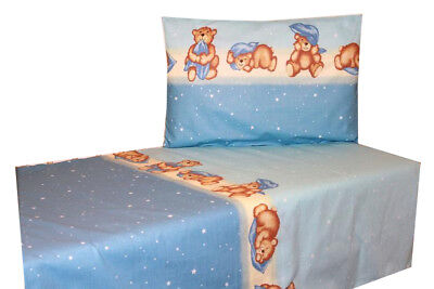 Baby Bedding Set Nursery Cot Bed Duvet and Pillow 135x100cm 2 Pieces Blue Bear