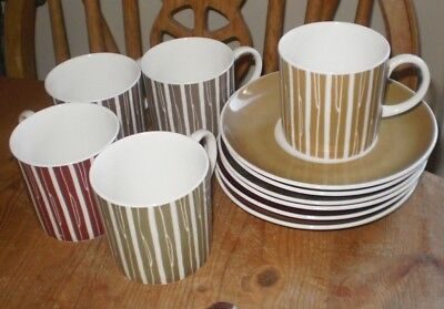 Susie Cooper Wedgwood 5 X Coffee Cups & 6 X Saucers  - Different Colour Stripes