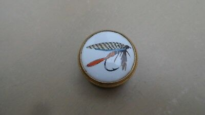 Crummles Minature Enamaled Trinket Box With Fish Fly Design With Two Flies In It