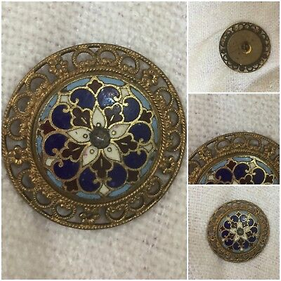 A 35mm Antique French Pierced Blue & Dark Red  Floral Enamel Button