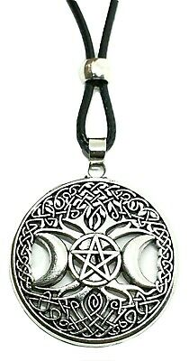 Celtic Tree of Life Triple Moon Goddess Pendant Pagan Cord Necklace Quality UK