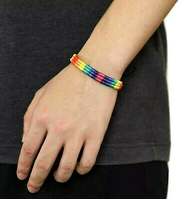Gay Pride Rainbow Macrame Multi-colour LGBT Friendship Bracelet Quality UK