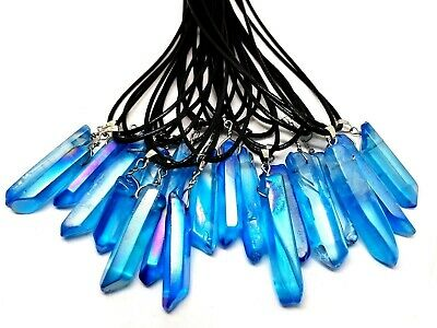 Aqua Aura Quartz Crystal Stone Pendant Necklace