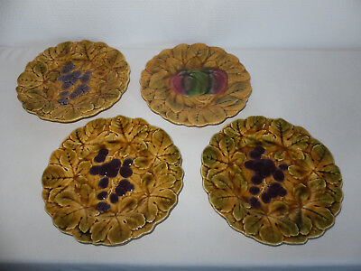 4 Assiettes En Barbotine De Sarreguemines Decor Aux Fruits