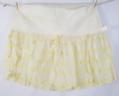 Vintage Bassinet Skirt Cover Yellow Floral Embroidery Plastic Feel Fabric Stains
