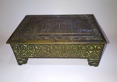 Handcrafted Antique Brass Or Bronze Heavy Jewelry Box with strange lettering