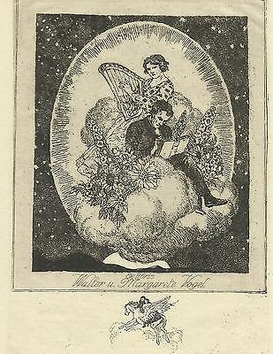 Musik Exlibris Ferd. Staeger Bliss: Music Couple n Cloud Star Flower Etching C3