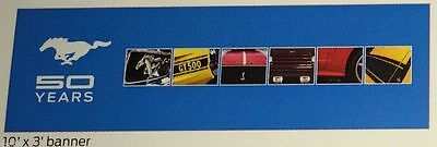 New Ford Mustang 50Th Anniversary Banner! Dealer Only Very Rare 10 Foot By 3 Ft.