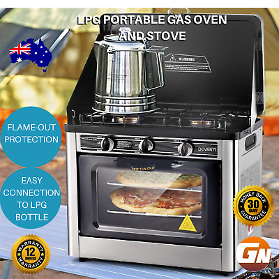 Portable Outdoor Gas Oven LPG Camping Pizza Cooker 3 Burner Stove Top Roast Bake