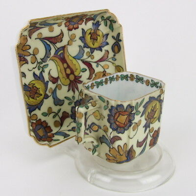Vintage Demitasse Cup Saucer Square Rectangle Jewel Tone Pattern Very Ornate