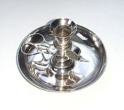 Antique sterling silver Candle Holder With Scissors & Snuffer, London, 1796.