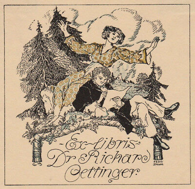 Ferdinand STAEGER Exlibris Dr. Richard Oettinger Bookplate Litho 1910