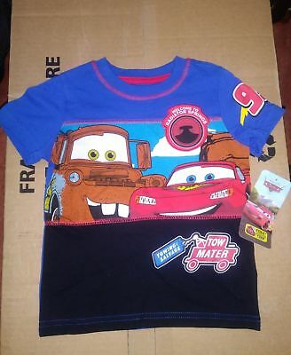 Disney Cars Boy's Short Sleeve T-shirt BLUE 2T 3T 4T TOWMATER LIGHTENING MCQUEEN